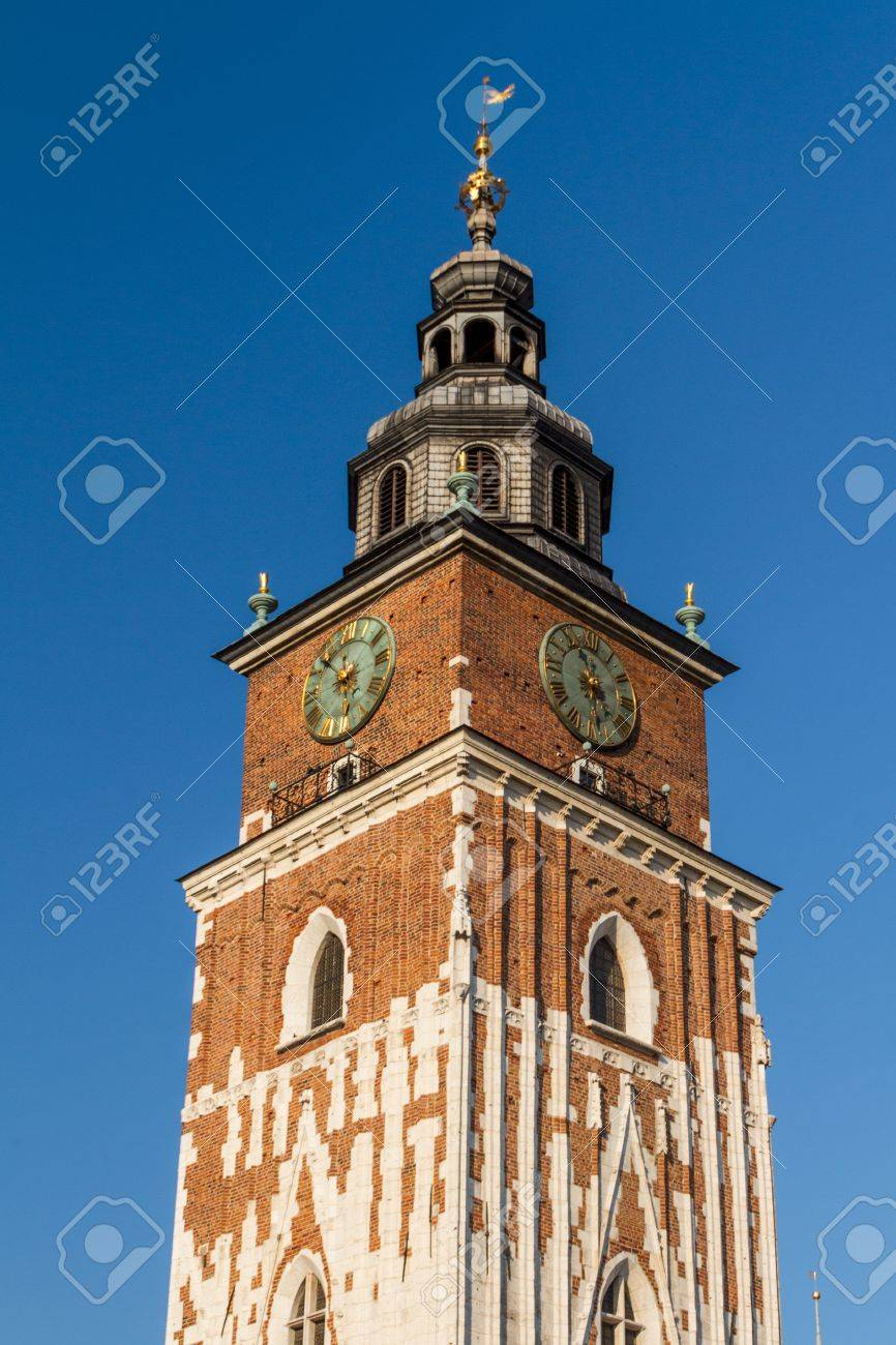 Town hall tower on main square of Krakow Stock Photo - 16608437