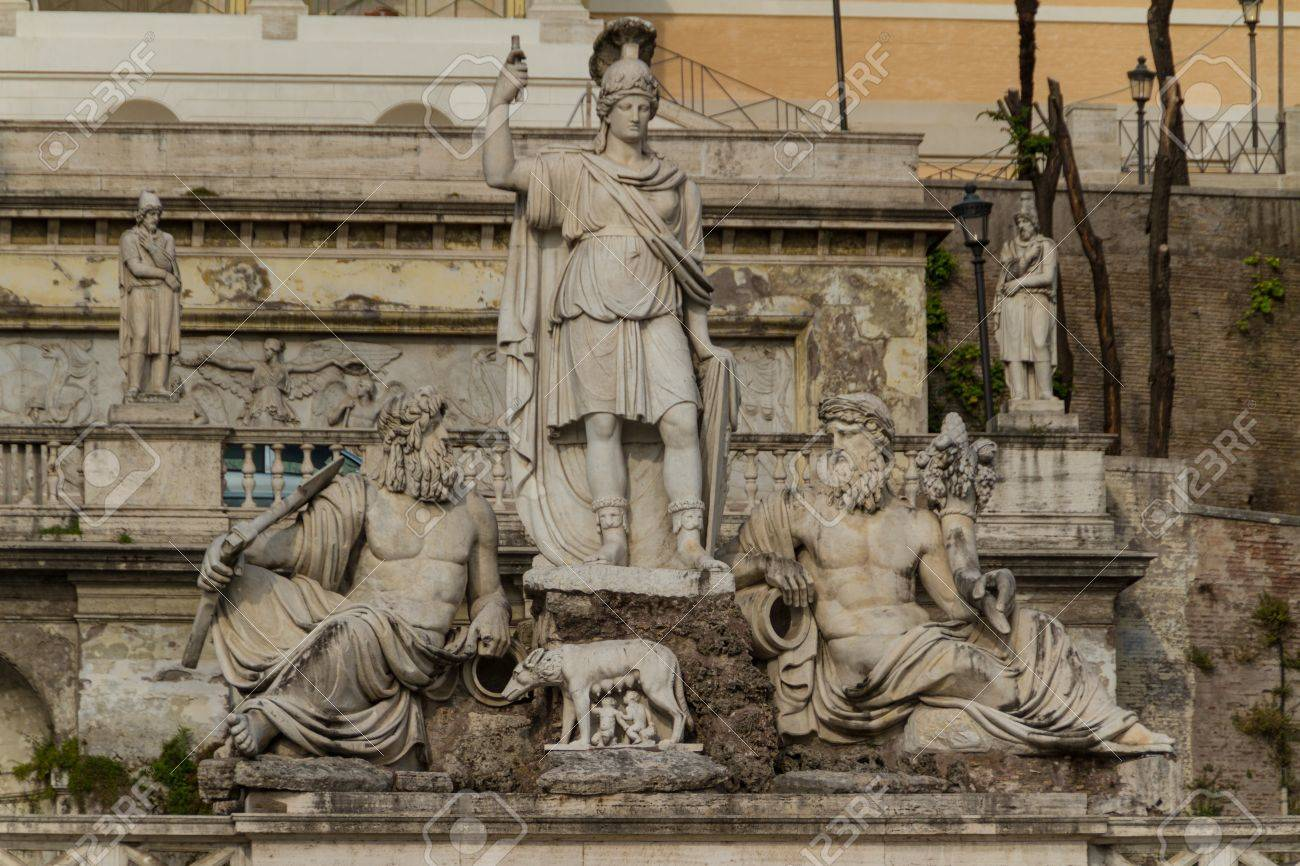 sculpture and fountain of Piazza del Popolo . The steps lead up to the pincio park, Rome, Italy Stock Photo - 18855355