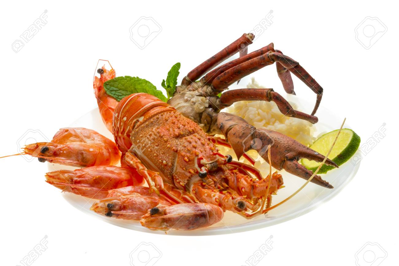 Spiny lobster, shrimps, crab legs  and rice Stock Photo - 19794175