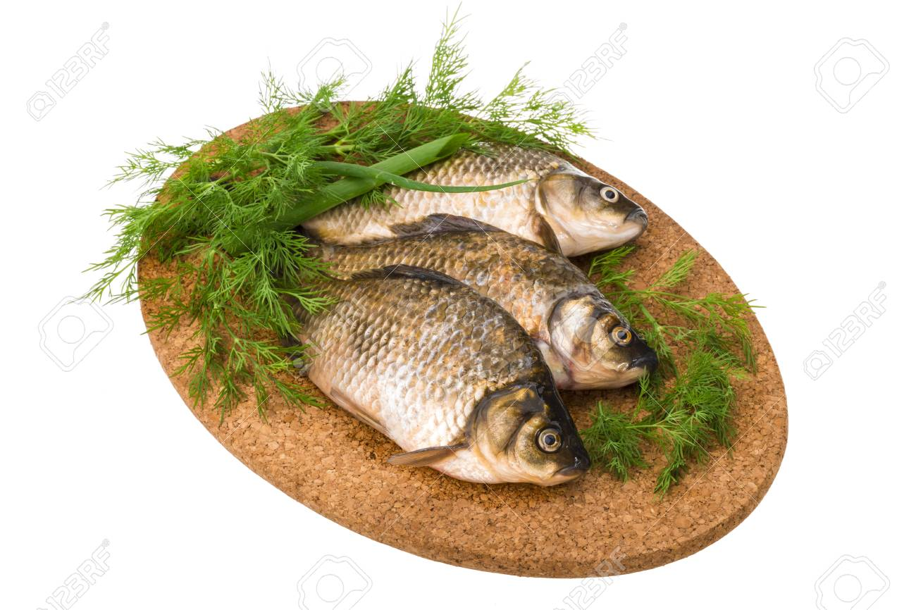 Raw Crucian on the plate with dill Stock Photo - 23714739