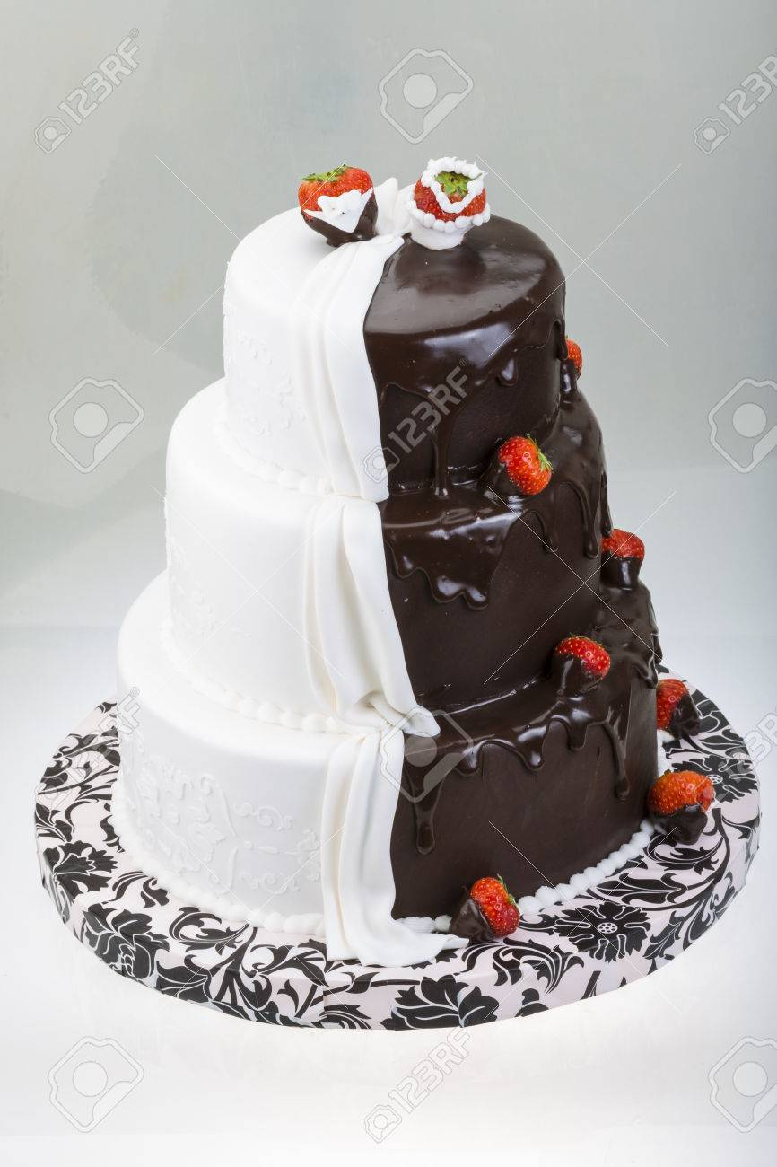 Big Wedding Cake With Strawberry Stock Photo, Picture And Royalty ...