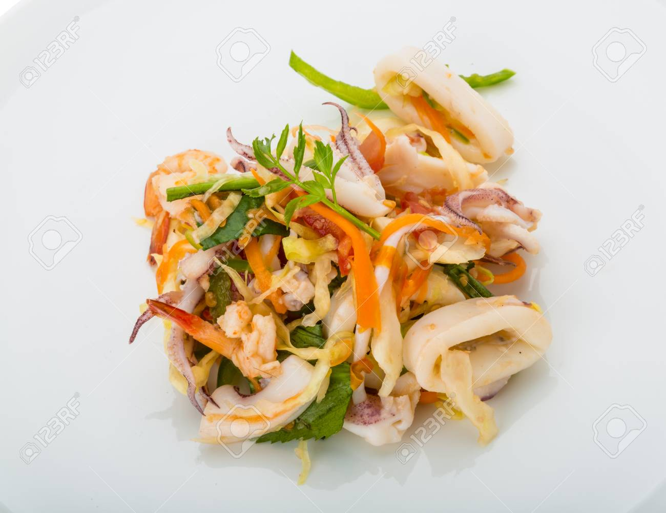 Asian Seafood Salad Isolated On White ...