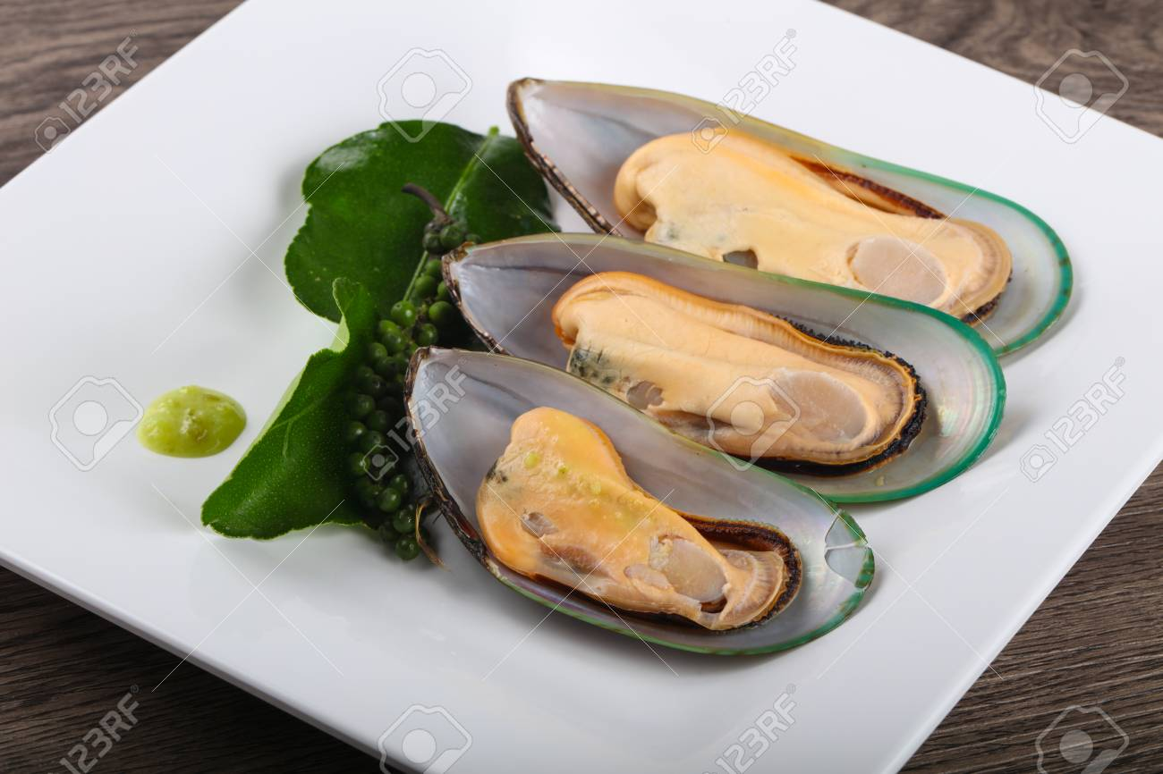 New Zealand Mussels On The Plate With Garlic Stock Photo Picture