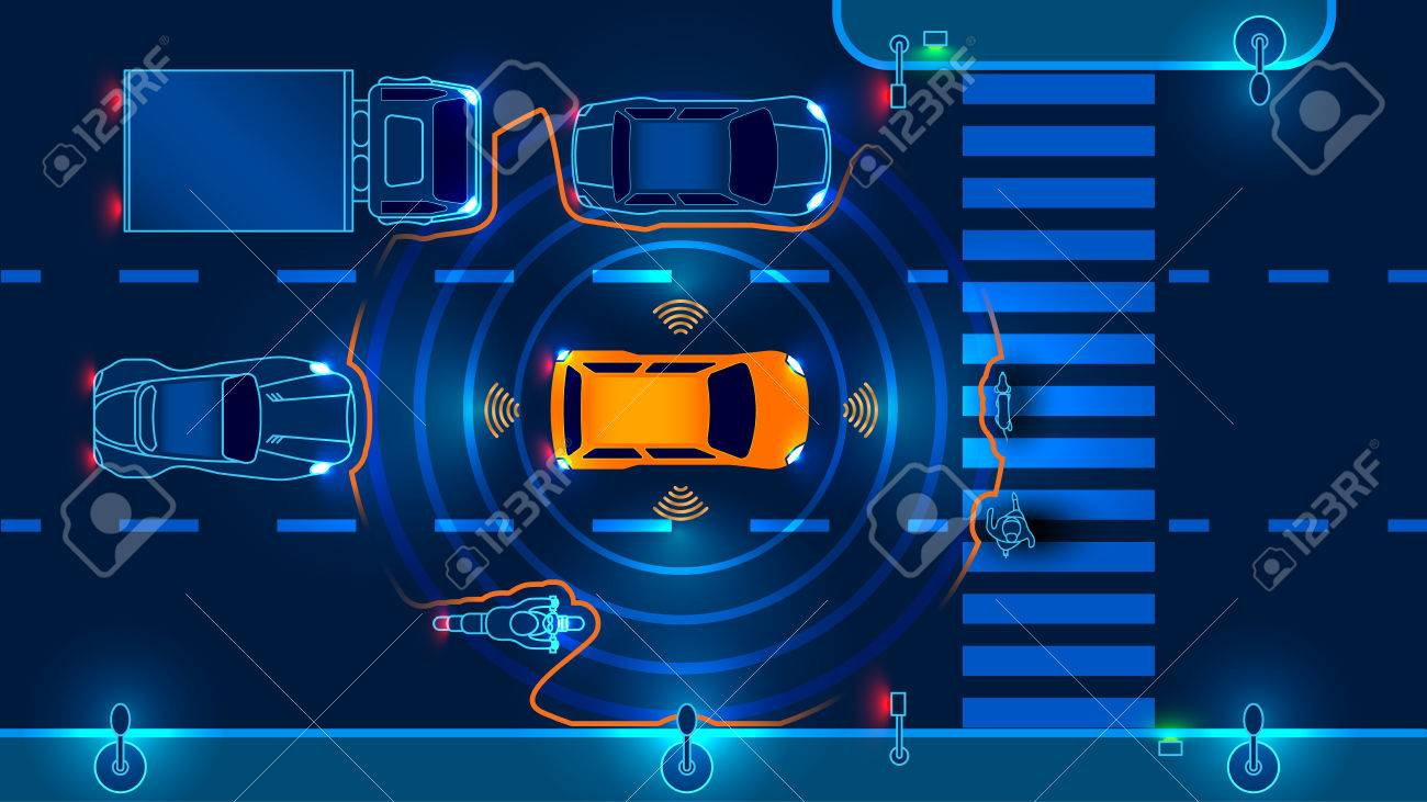 Autonomous smart car scans the road operates the machine automatically stops at the crosswalk in the city. Vector illustration. - 77851159