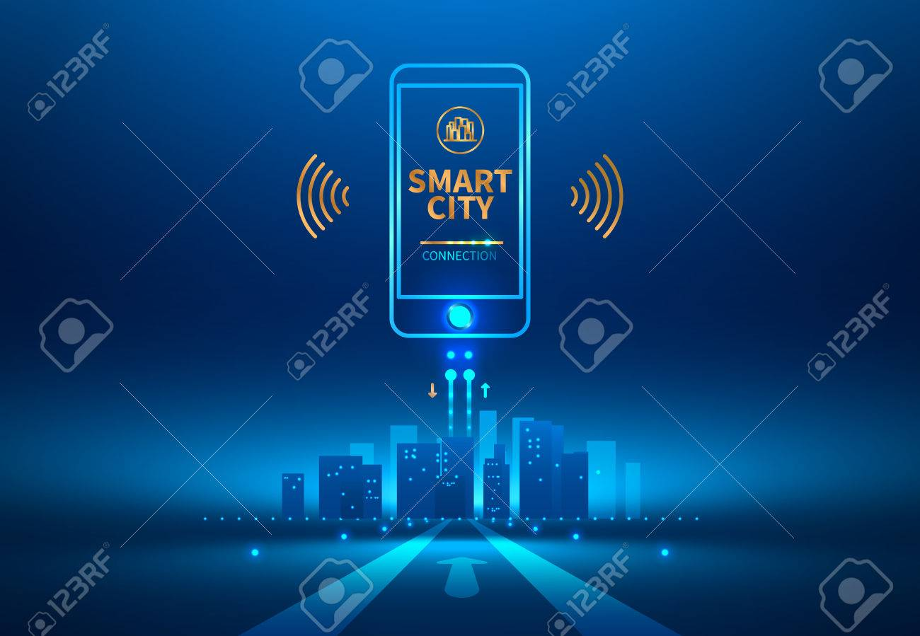 Smart city wireless communication with smart phone. Future concept. Vector illustration. - 78357636