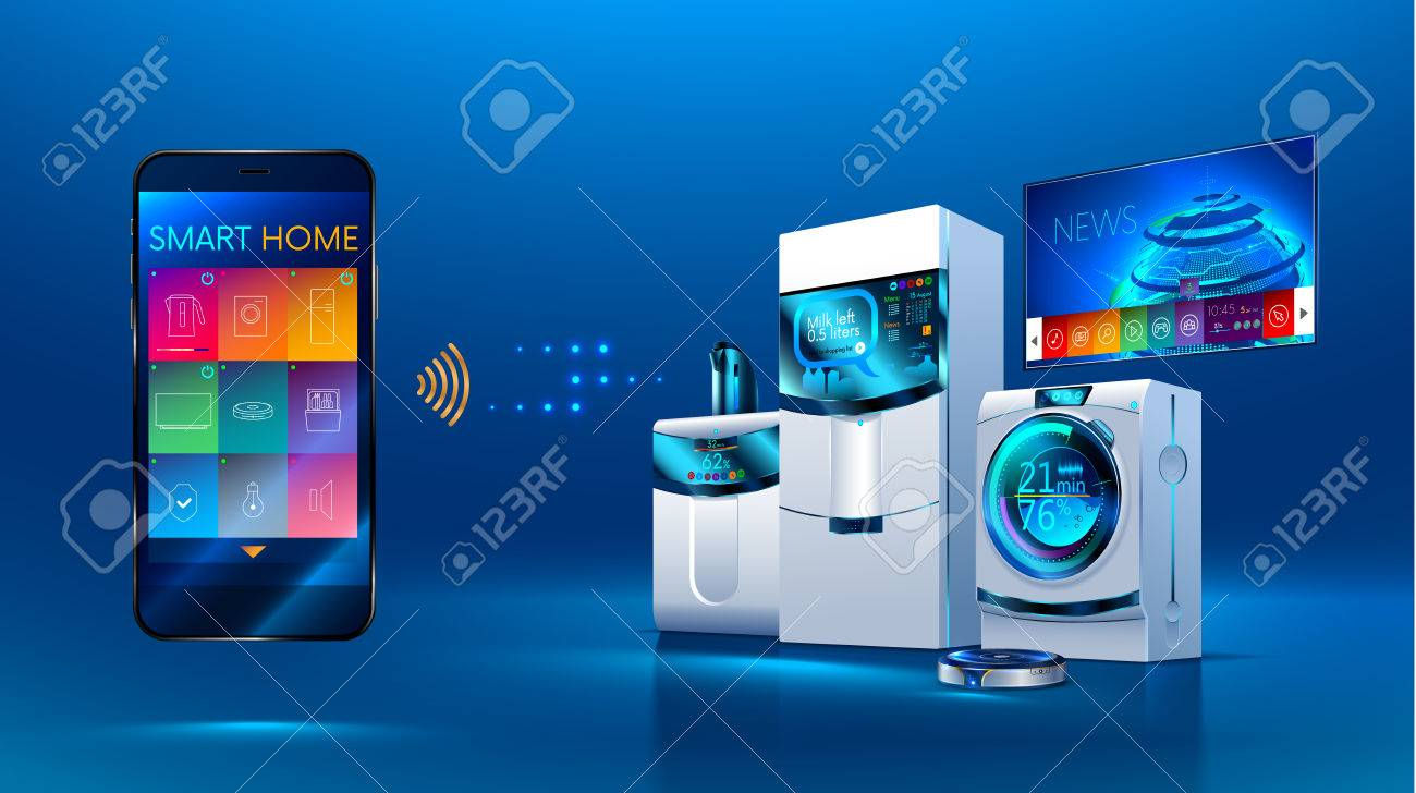Smart Kitchen The Smart Phone Manages Kitchen Appliances Dishwasher