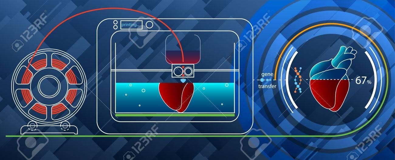 Fruitshake-Konzept. 3D-Druck Eines Menschlichen Herzens Auf Einem 3D ...