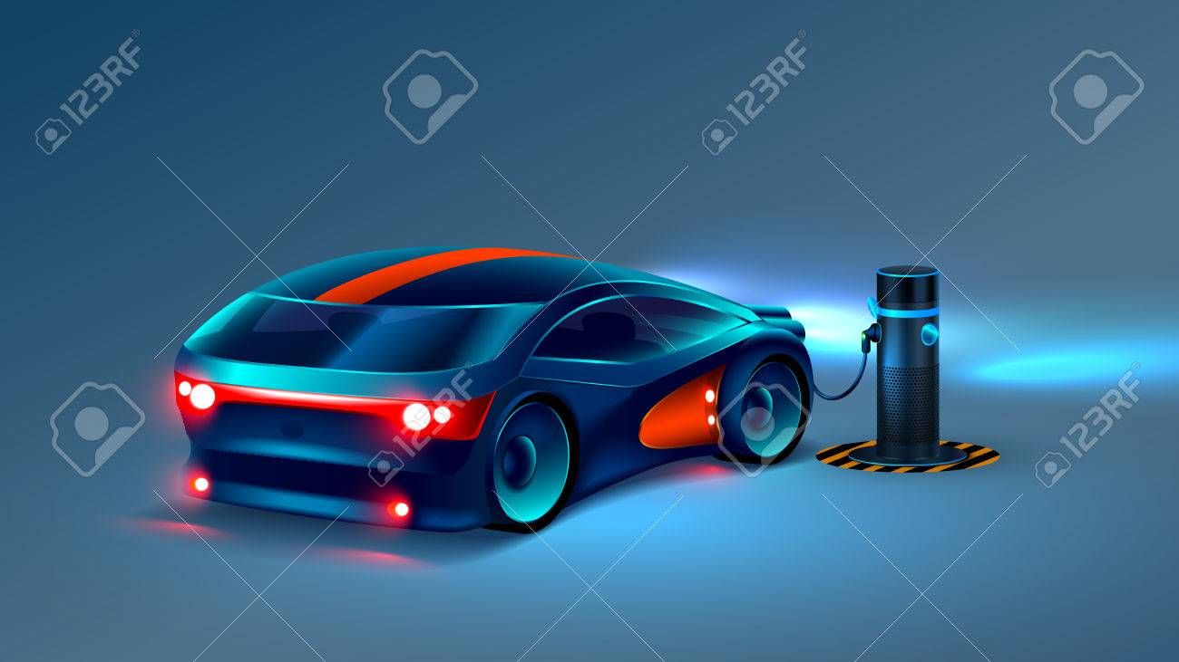 Electric car charging station. Future concept. VECTOR - 81743015