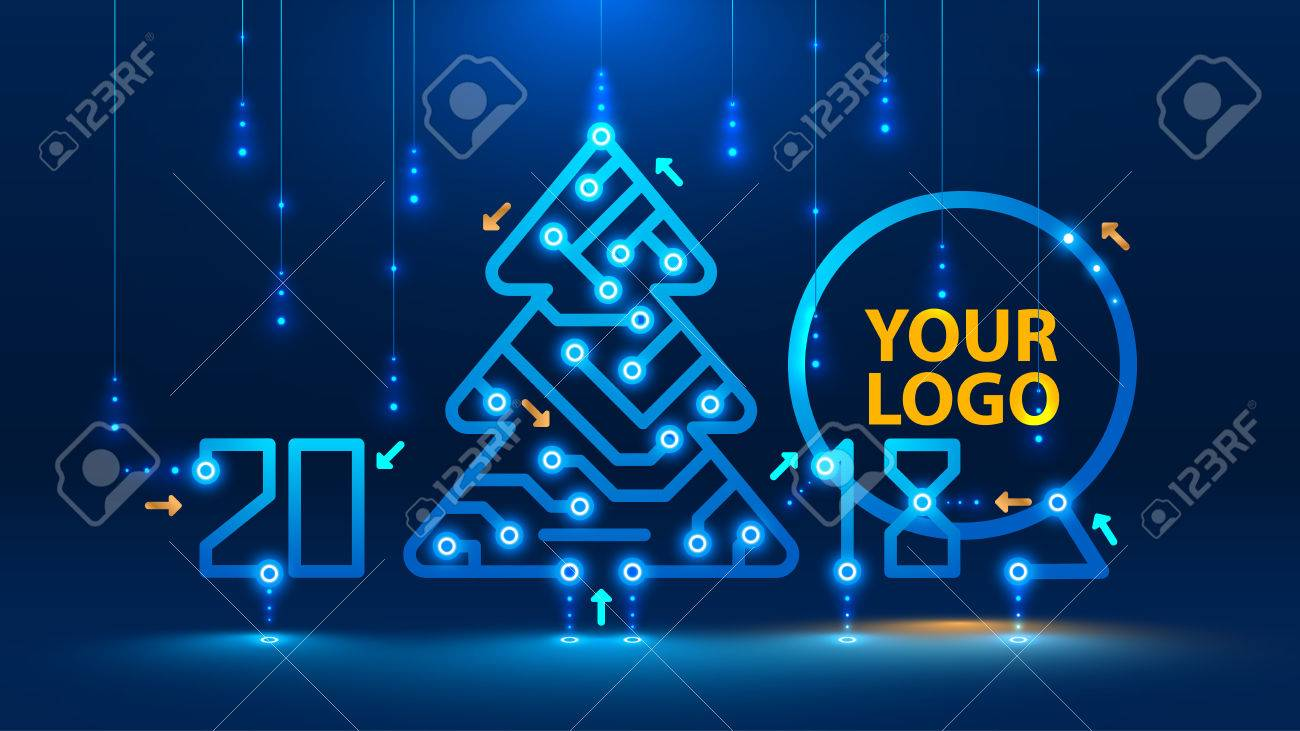 Template new year and Christmas cards in the style of new technologies. Christmas tree, 2018 year on the printed circuit Board. Snowfall and snow flakes from the electronic pulses and signals. VECTOR - 84747807