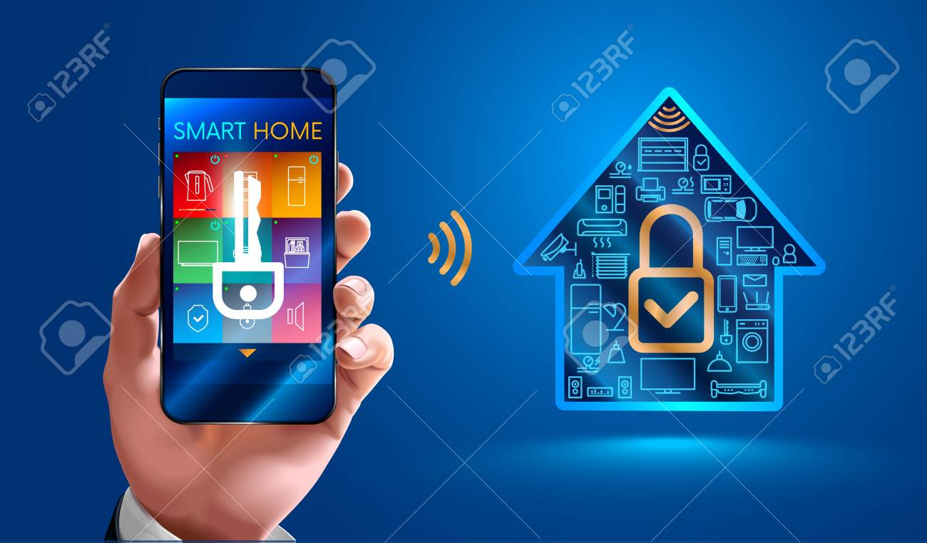 Man using smart phone controls smart home devices  Secure smart
