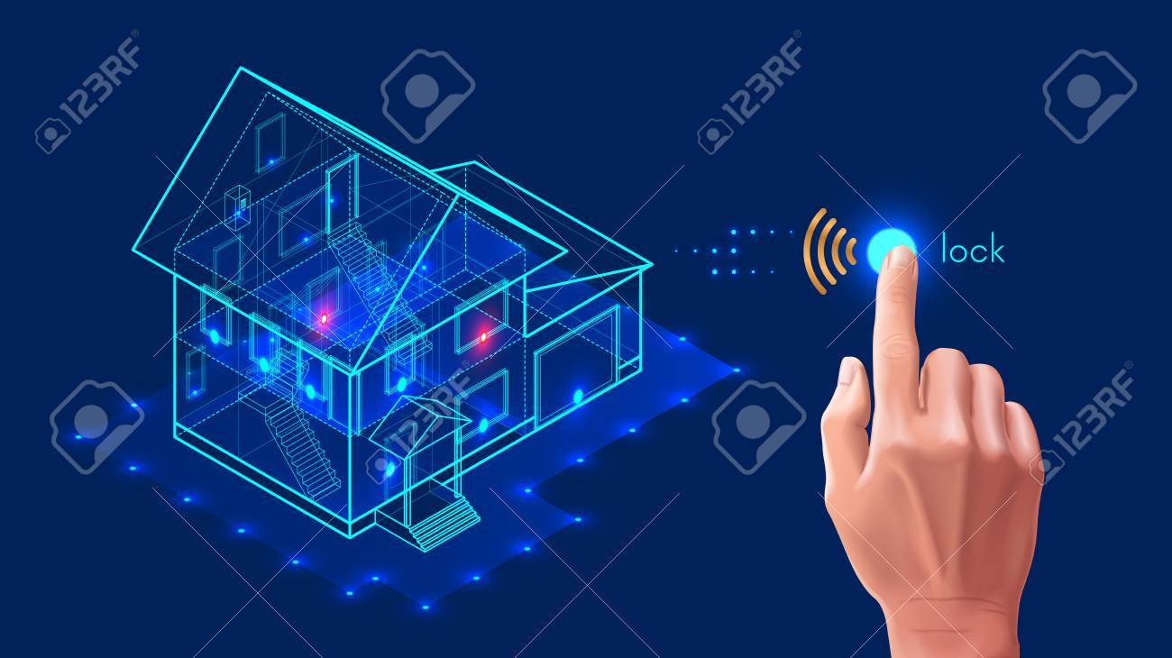 Security system of smart home. 3d house plan x-ray. Control locks the doors and windows over the internet with smartphone application. Home protection wireless system. VECTOR - 87570081