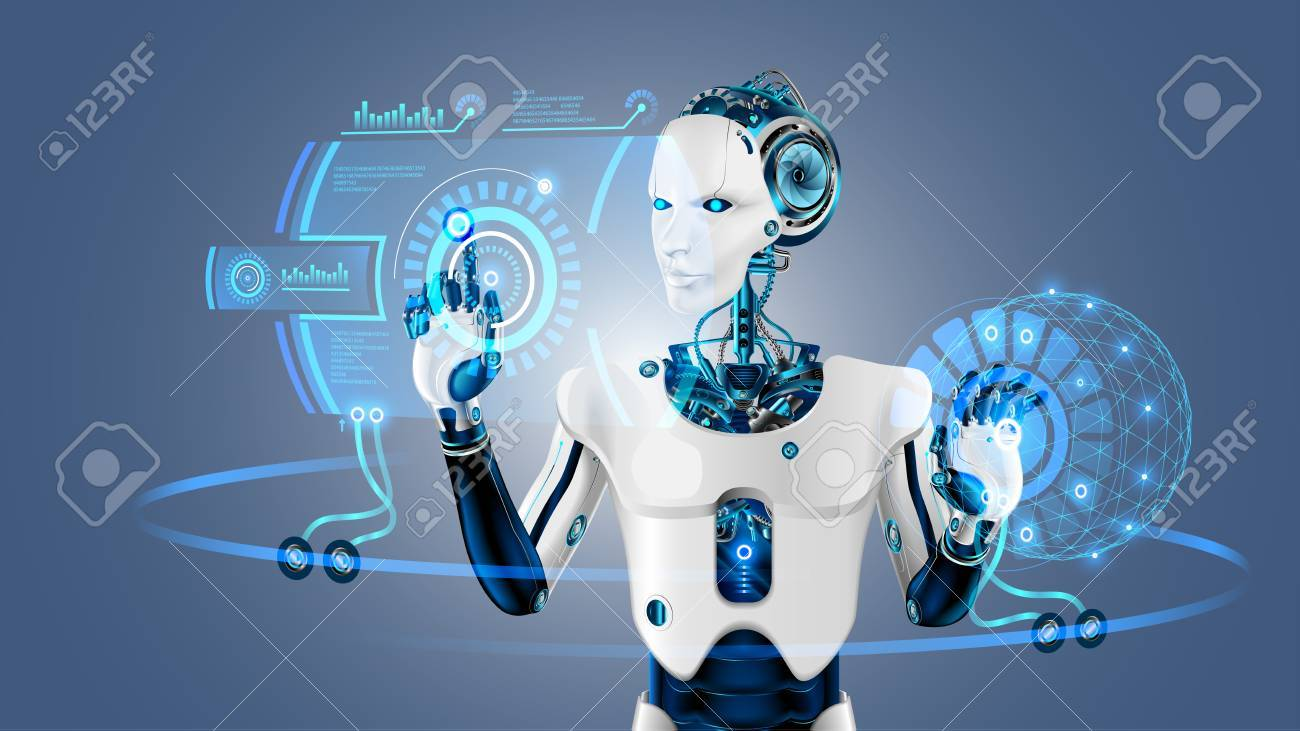 Robot cybernetic organism works with a virtual HUD interface in augmented reality. Humanoid robot with a plastic face presses the button on the digital screen. Future concept. - 88326655