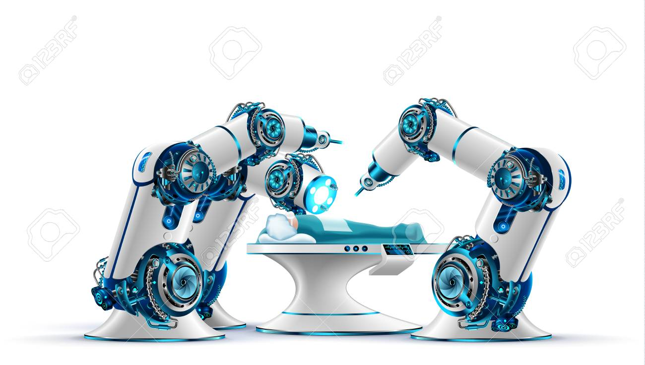 Robotic surgery. Robot surgeon makes a surgery patient on the operating table. Robotic arms holding the surgical instruments. Modern medical technologies. Innovation in medicine. Future concept. - 89834051