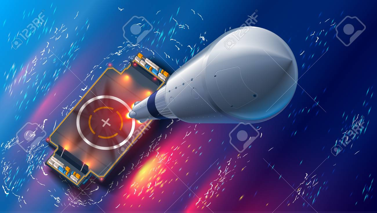 Rocket launch on autonomous spaceport drone ship in sea. Top view. spaceship takes off into space. Marine floating cosmodrome. Aerospace technology future concept. - 93002333