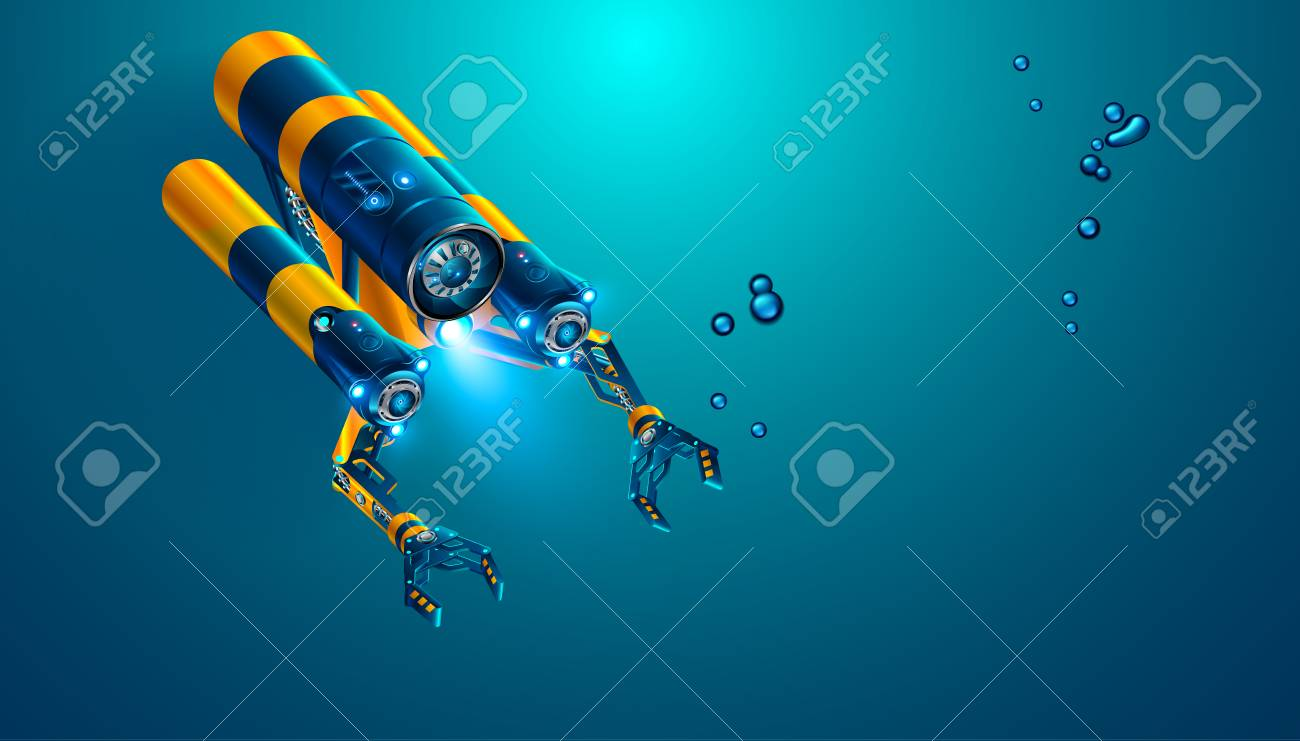 Autonomous underwater rov with manipulators or robotic arms. Modern remotely operated underwater vehicle. Fictitious subsea drone or robot for deep underwater exploration and monitoring sea bottom. - 93150540