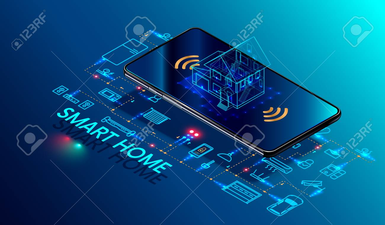 Smart home controlled smartphone. Internet of things technology of home automation system. Small house standing on screen mobile phone and wireless connections with icons home electronics devices. iot - 97307626