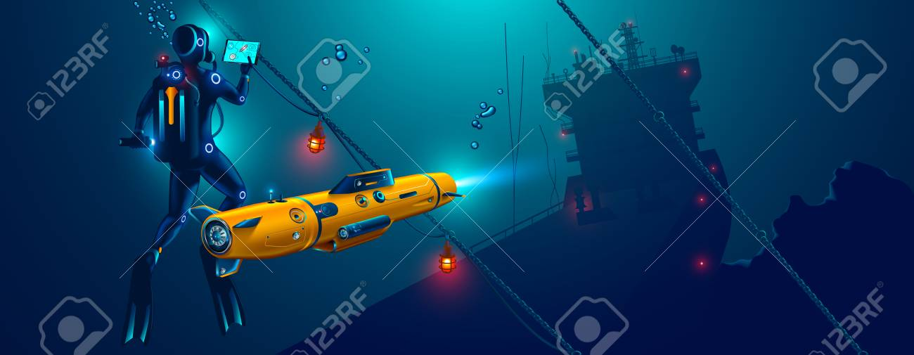 Underwater autonomous robot exploration sea floor. Underwater drone with diver explorat the place shipwreck of ship. - 103603132
