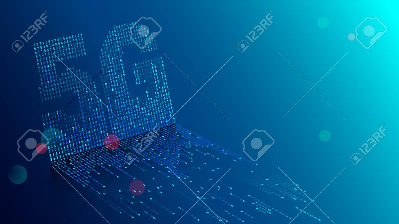 5G technology background. Digital data as digits connected each other and form symbol 5G on blue background. New generation mobile networks and internet. - 103487029