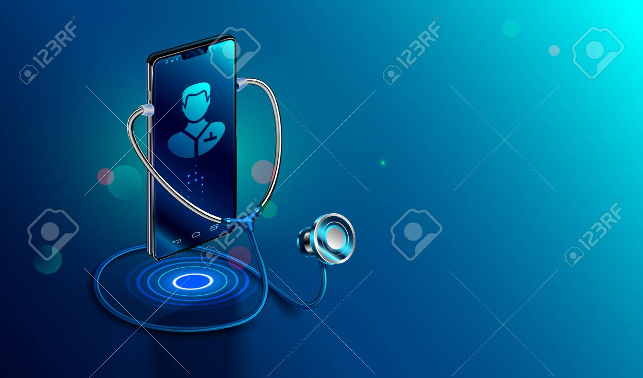 Doctor online concept. Icon Doctor through the phone screen using stethoscope checks health. Online medical clinic communication with patient. Vector isometric illustration. - 114858340