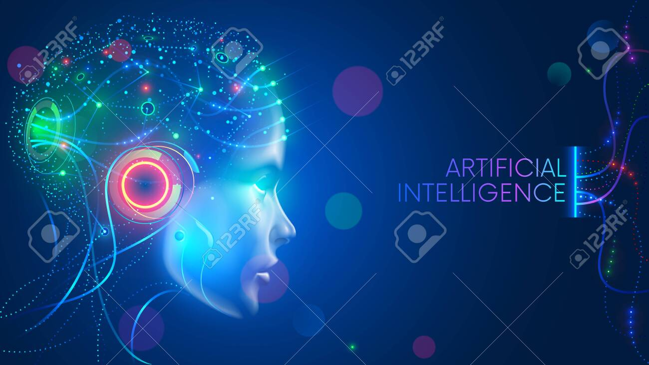 Artificial intelligence in humanoid head with neural network thinks. AI with Digital Brain is learning processing big data, analysis information. Face of cyber mind. Technology background concept. - 134278308
