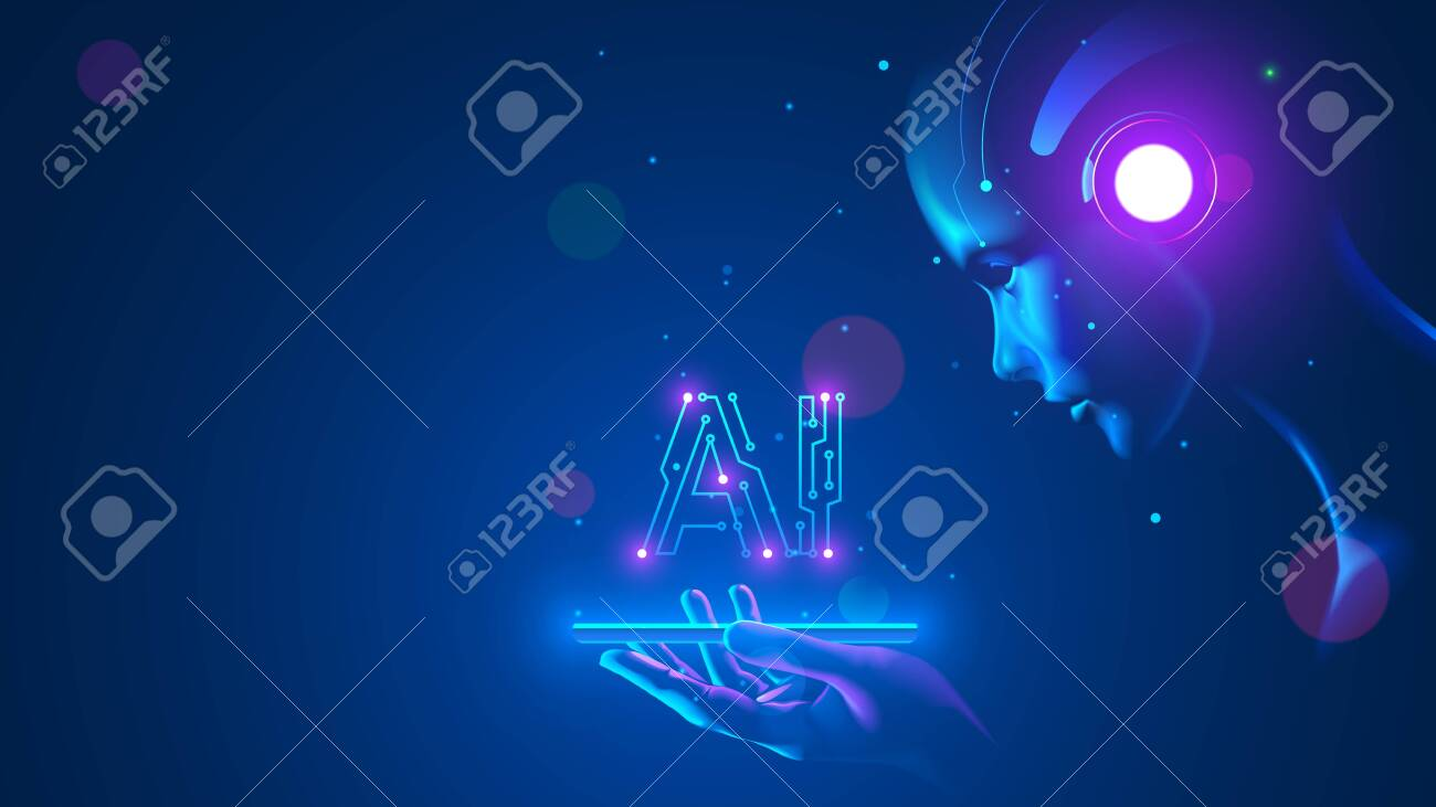 Cyborg woman look at logo AI hanging over phone. Abbreviation AI consists pcb elements. Artificial intelligence with beautiful face in blue virtual cyberspace leaning towards at screen smartphone. - 144257588