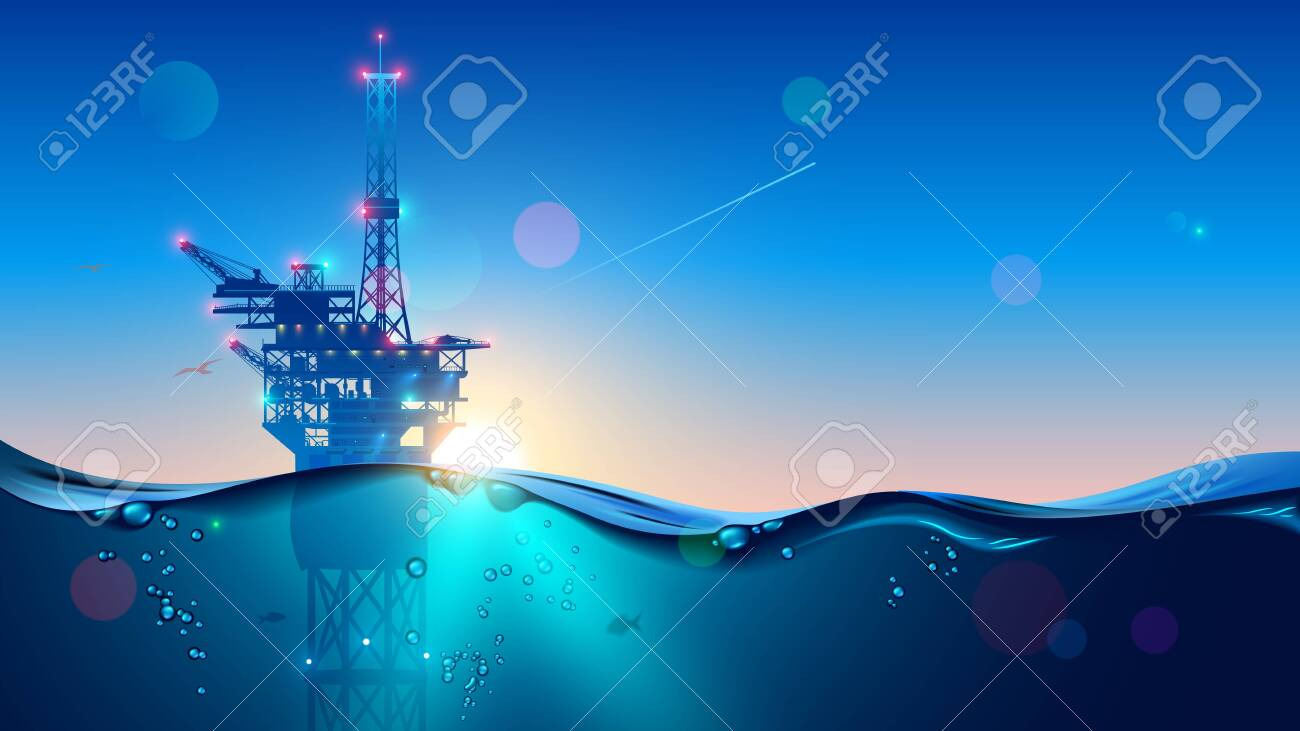 Offshore Oil or Gas Rig in sea at sunset time. industry drill platform in ocean. Water with underwater bubbles with sunrise on horizon. subsea marine landscape. Mining petroleum. - 144502338