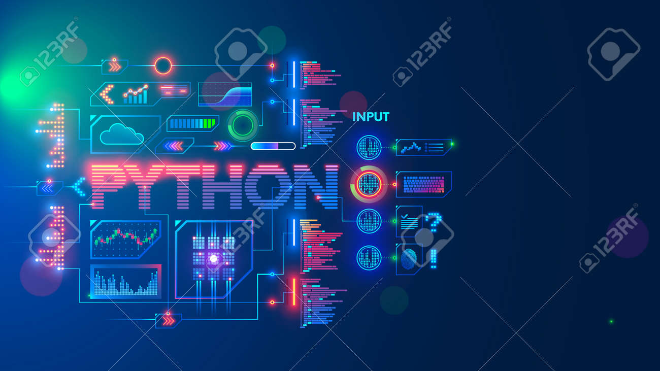 Programming language python. Conceptual banner. Education coding computer language python. Technology of software develop. Writing code, learning artificial intelligence, AI, computer neural networks - 158476613