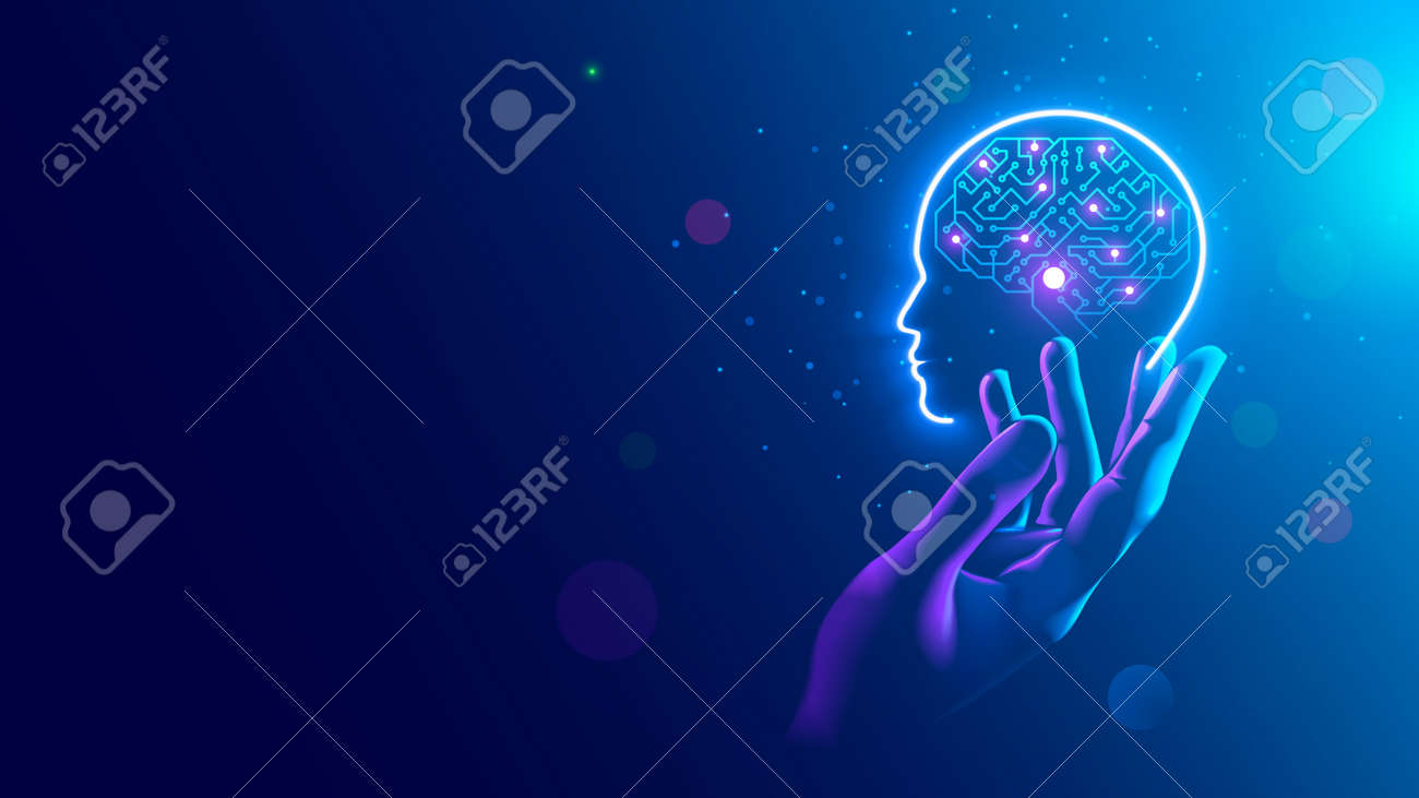 AI. Electronic brain. Neon Silhouette of human head with artificial intelligence hanging over palm hand. Cybernetic artificial neural network. Electronic mind. Neuronet, deep machine learning concept. - 159236486