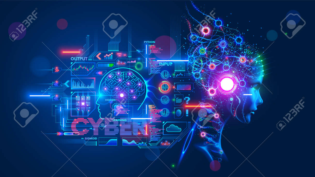 AI or artificial intelligence with the computer brain as a neural network. Programming and Deep machine learning of neural network. Robot Head with cybernetically mind. Abstract Interface elements. - 160354482