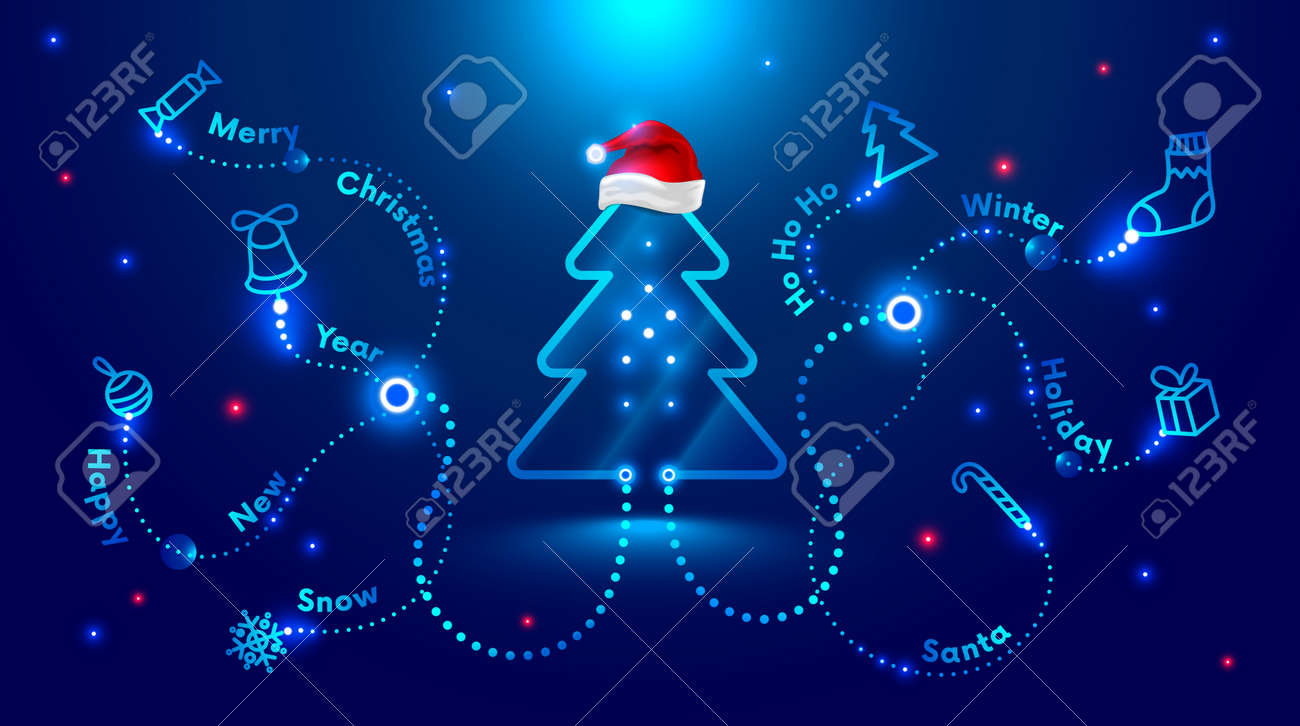Christmas card in the style of new technologies, engineering, electronics. Christmas tree in red Santa Claus hat and surrounded by Christmas and new year symbols. Christmas sales and marketing - 160354612