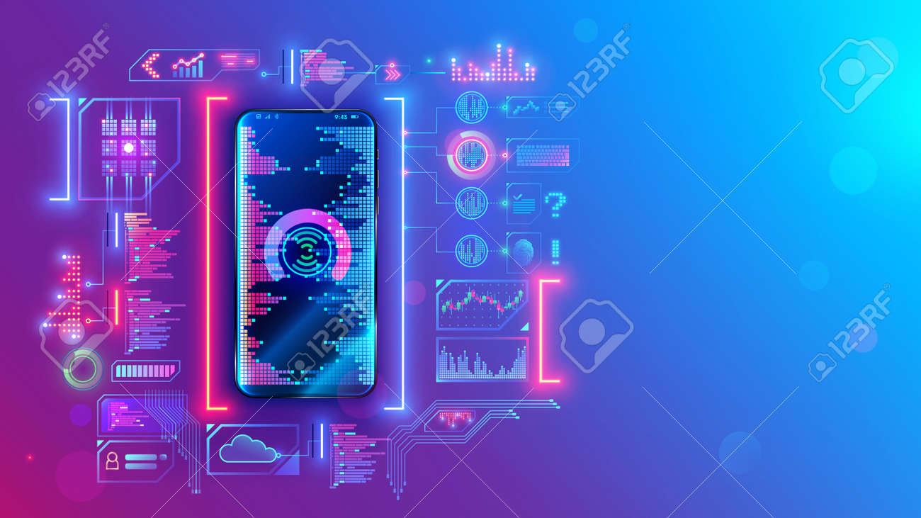 Mobile application development technology concept. Coding, programming apps for smartphones and mobile devices. Engineering or build of user interface layout cell phone. Mobile software of web service - 162169236