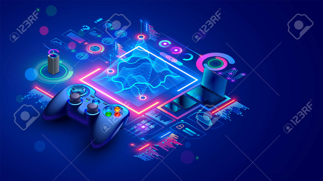 Game dev isometric concept. Education of creation 3d design of location or level computer game. Scripting, programming AI of digital games. Isometric illustration of abstract gamepad or joystick. - 163074930