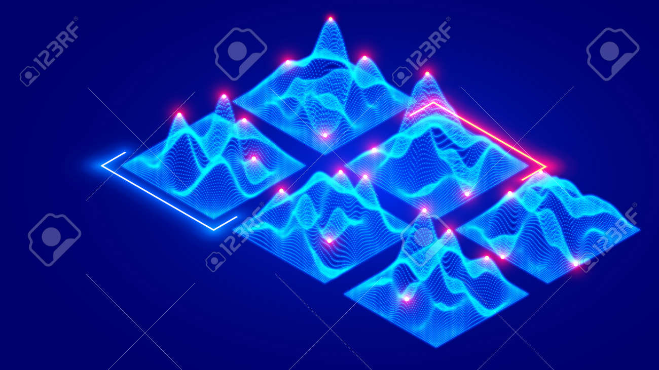 Vector isometric 3d grid surface of data consisting of glowing dots, particles. Big data visualization. Wave grid abstract diagrams of flow digital information. Wavy wire infographic design element - 163497079