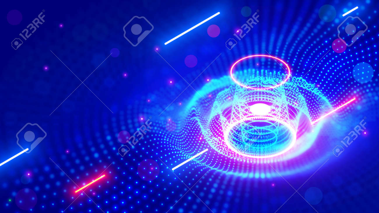 Abstract sound wave. Neon music tech background in nightclub. Equalizer visualizes music waves in technological cyber style. Light dots form of 3d surface images of round splash sounds vibrations - 164468020