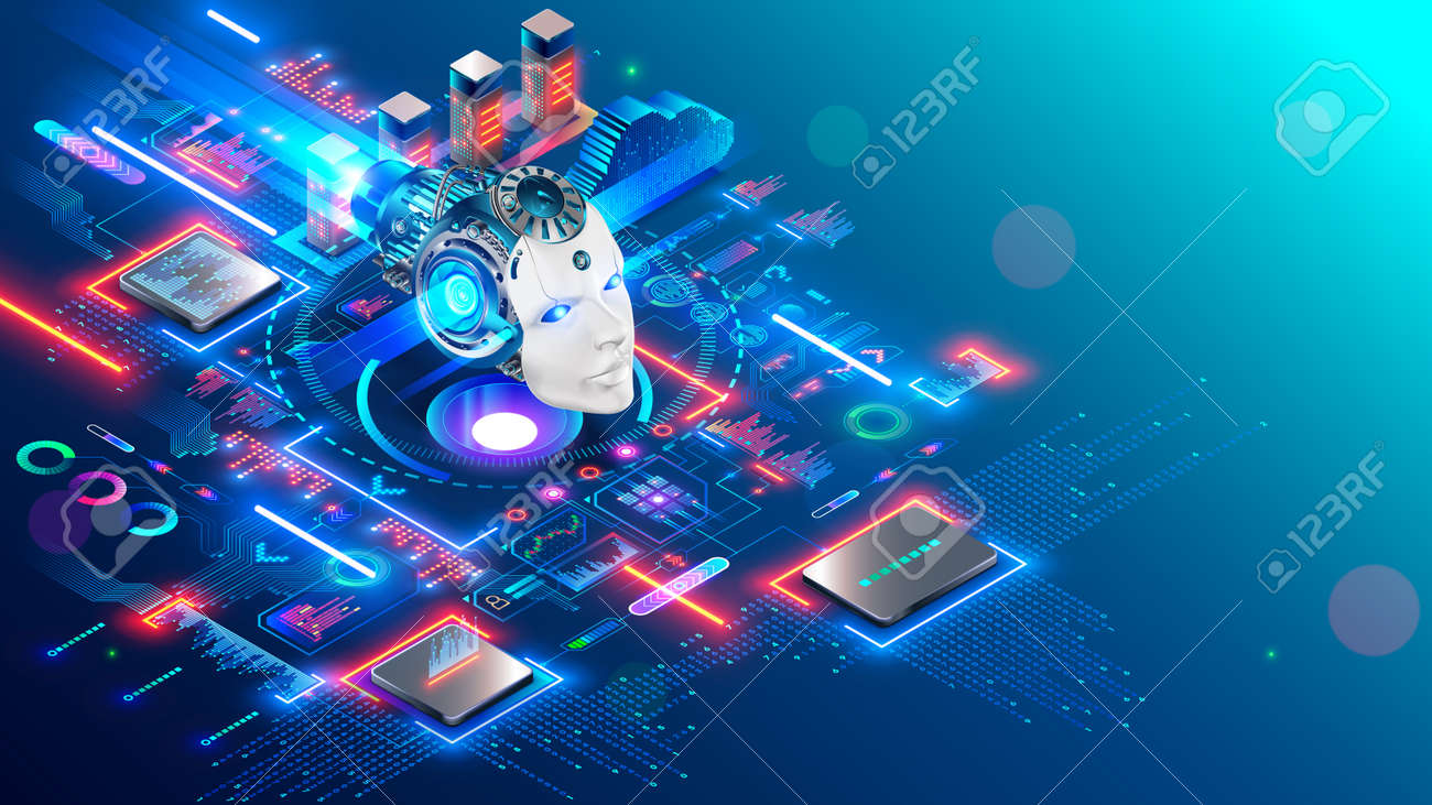 AI. Artificial intelligence technology isometric concept. Cybernetic brain communication with network and analyze data. Machine learning of AI. Robot or cyborg head images mind artificial intelligence - 164983376