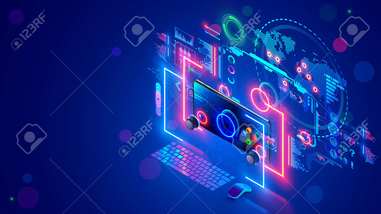 Online computer or mobile video games concept banner. E sports. Desk of computer gamer. Monitor screen, mobile phone hover near holographic of game interface, connected gaming servers on virtual map. - 165414868