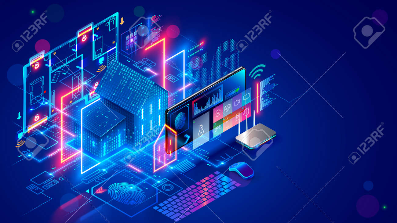 Smart home system develop. Internet of things. Engineering design digital infrastructure of house, configuration scripting of work smart devices. Phone app control IOT through 5g internet connection. - 166062833