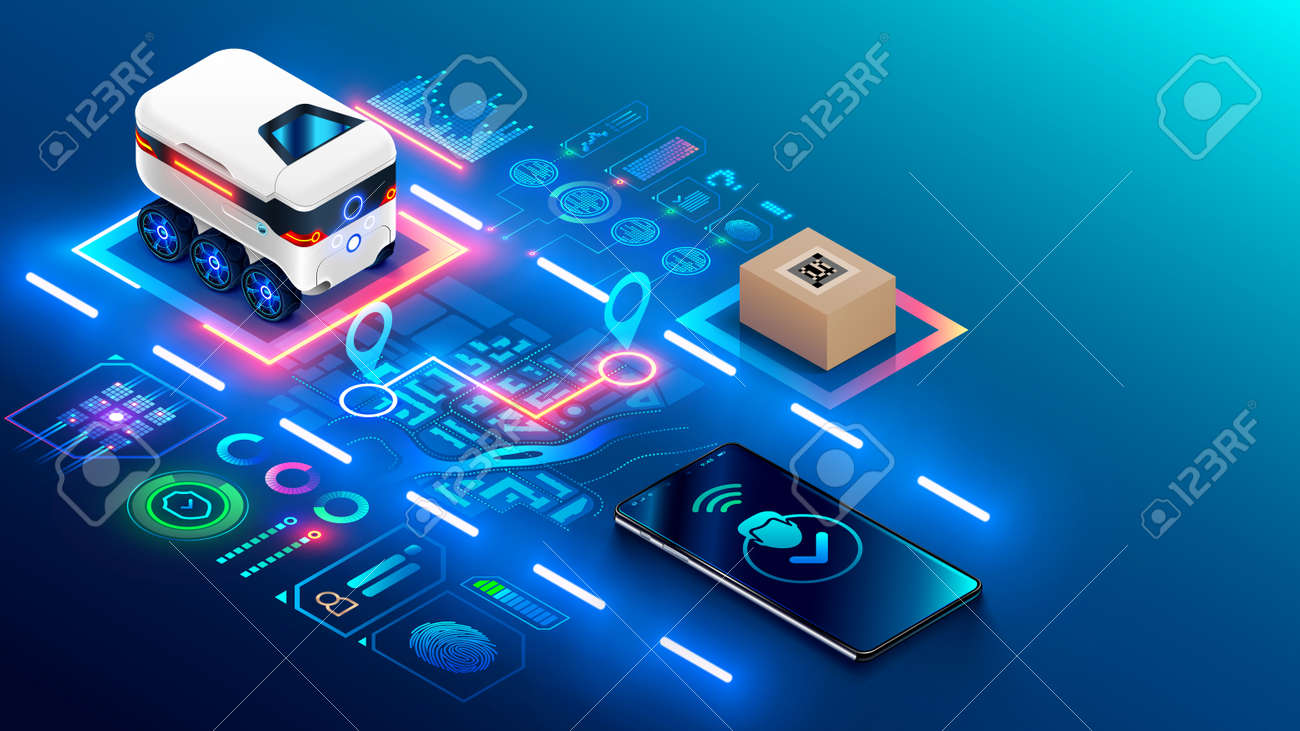 Autonomous robot on wheels delivers purchases home. The automatic drone rover route on city map to buyer. Automated courier delivery service for purchases. Tracking order delivery on mobile phone. - 167218855