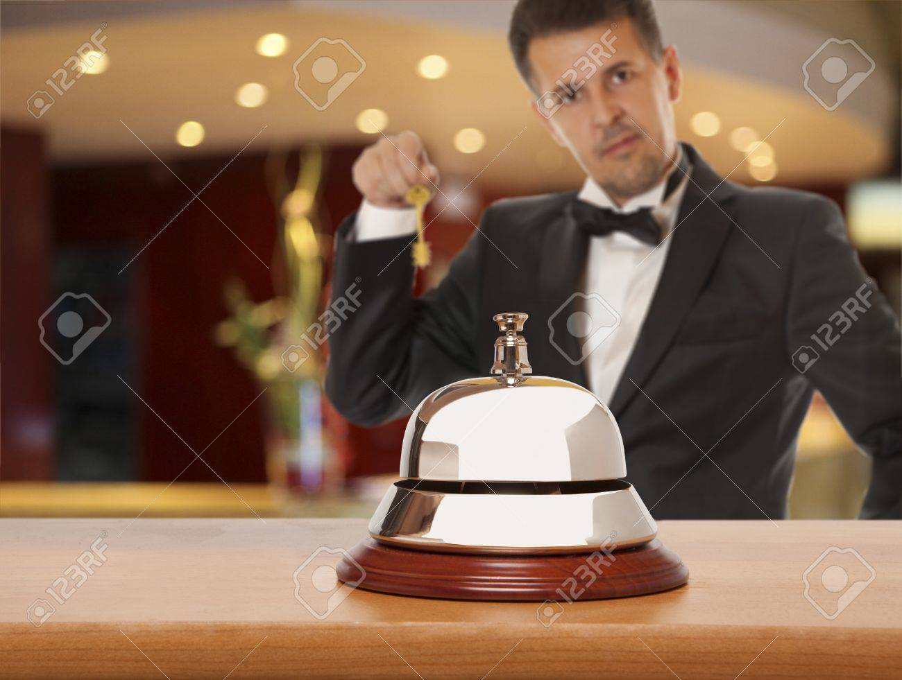Hotel Concierge.  Service bell at the hotel Stock Photo - 15708357