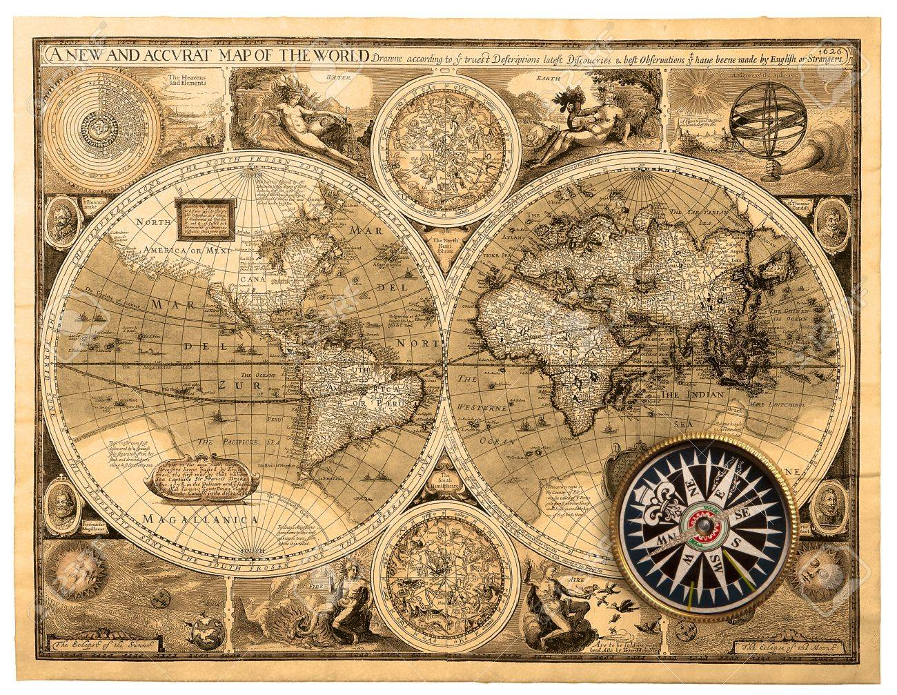 A New And Accvrat Map Of The World 1626.Old Map 1626 A New And Accvrat Map Of The World Stock Photo