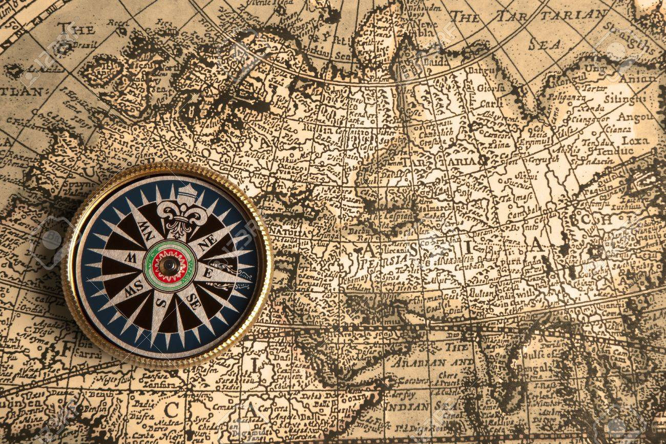 Old Compass And Rope On Vintage Map Stock Photo, Picture And ...