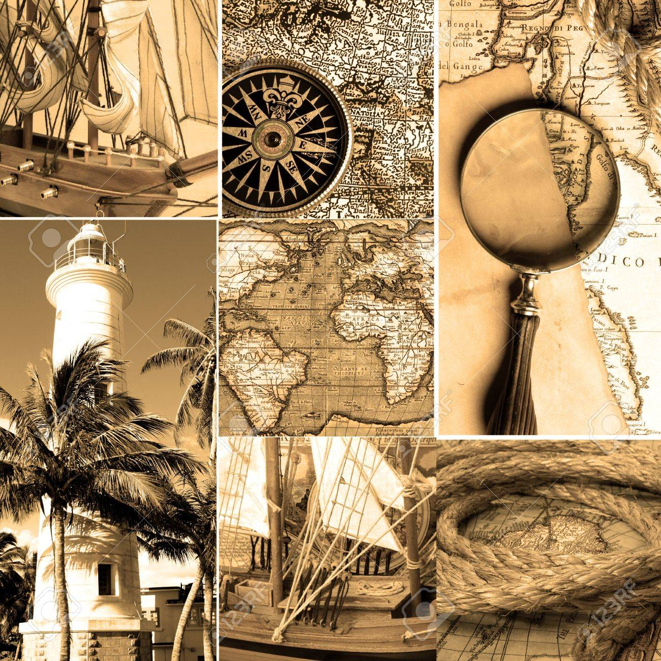 Marine Collage With Old Compasses And Maps. Sepia Color Stock ...