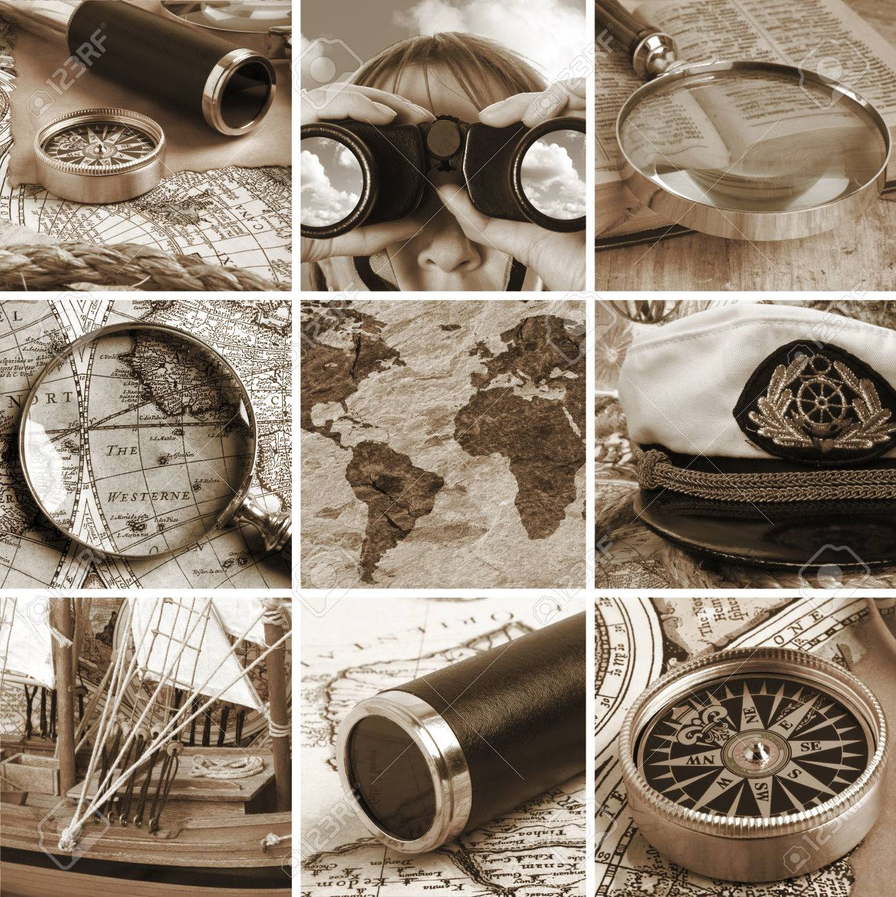 Marine Collage With Old Compasses And Maps Stock Photo, Picture ...