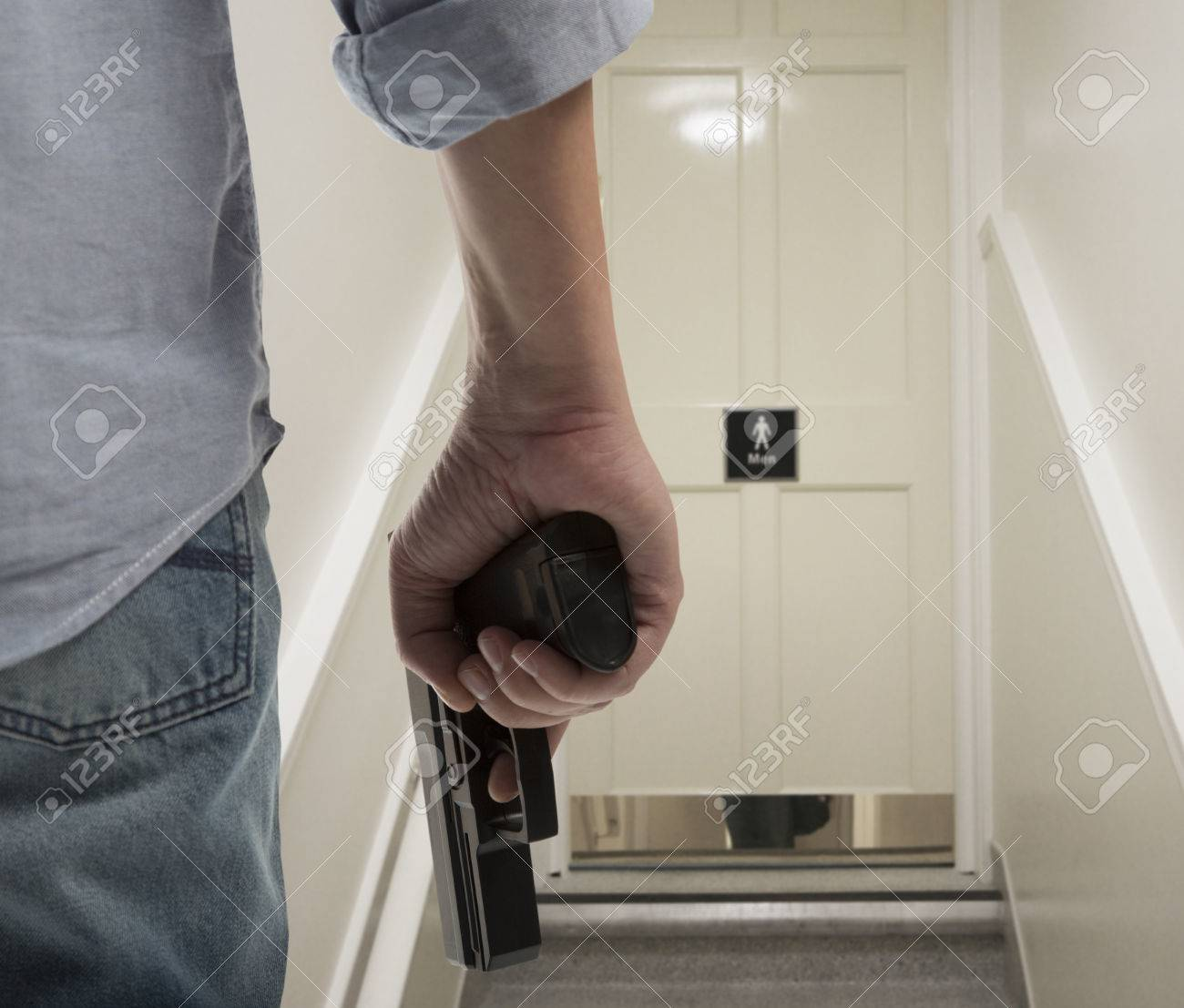 Bodyguard With Gun Protects Client Against An S Water Closet Stock