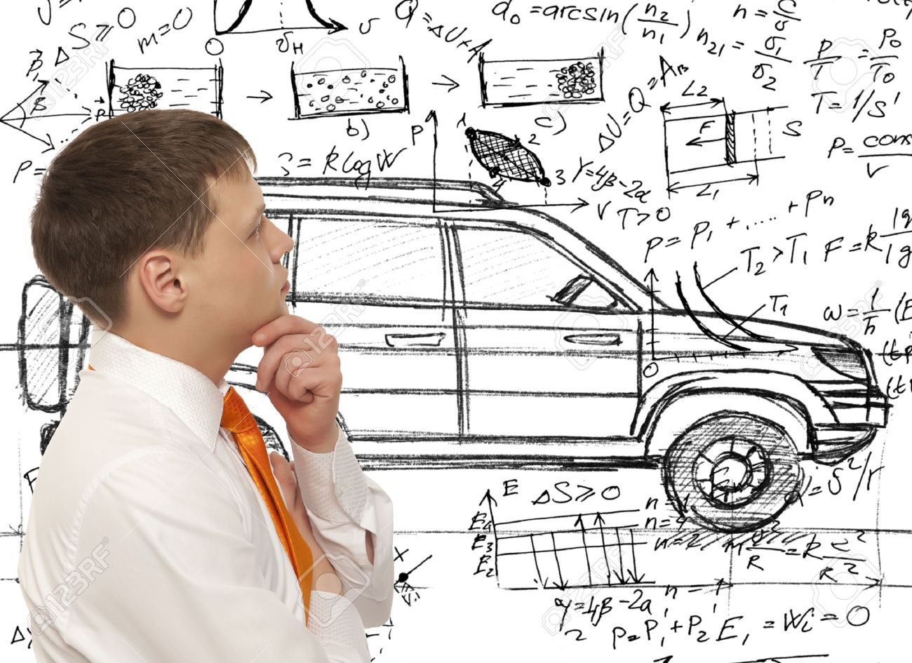 Car designer inventor. Photo compilation, photo and hand-drawing elements combined - 38119856
