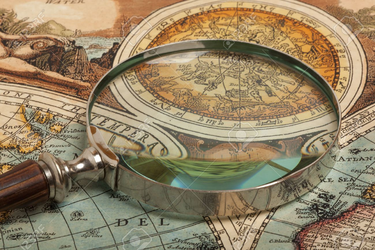 Magnifying glass and ancient old map - 38258627