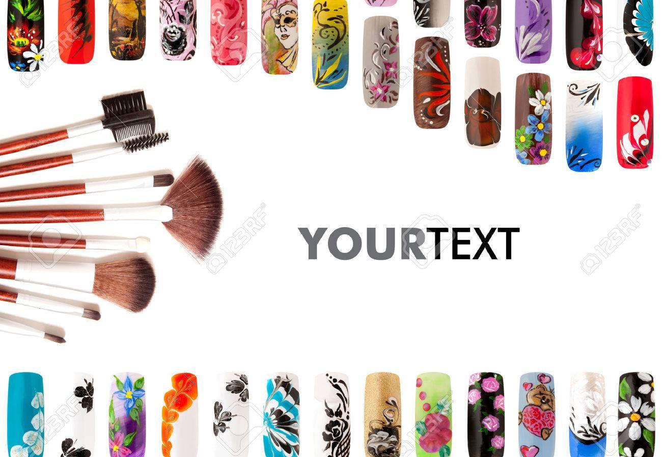 Nail art handmade. Colorful nails isolated - 38450943
