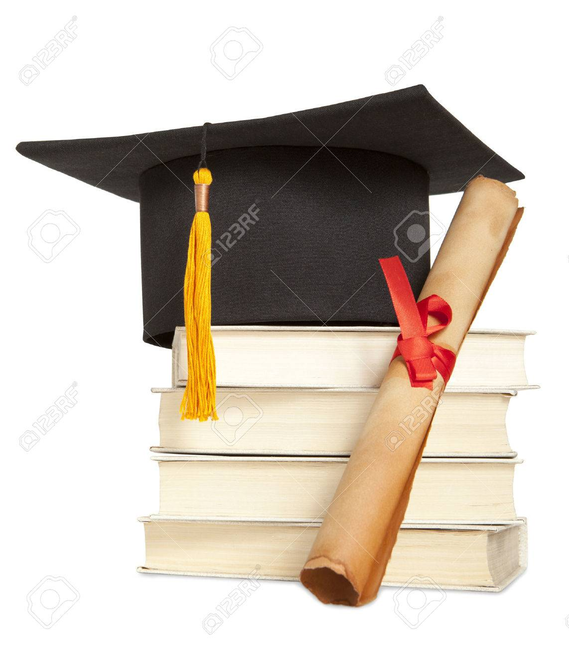 Graduation hat, book and diploma isolated on white - 39048938