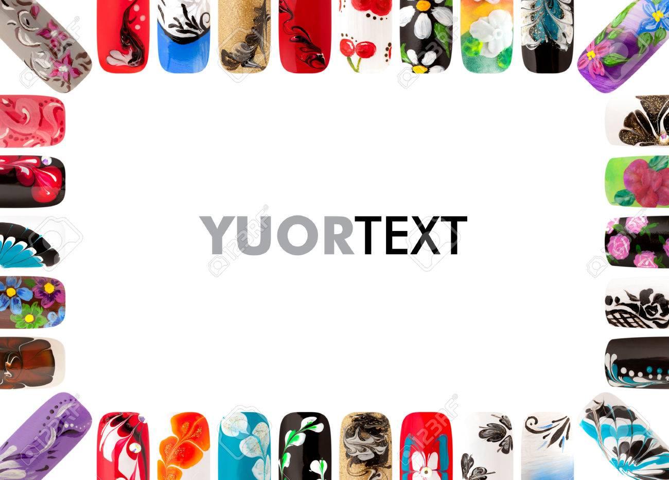 Nail art handmade. Colorful nails isolated - 39504481
