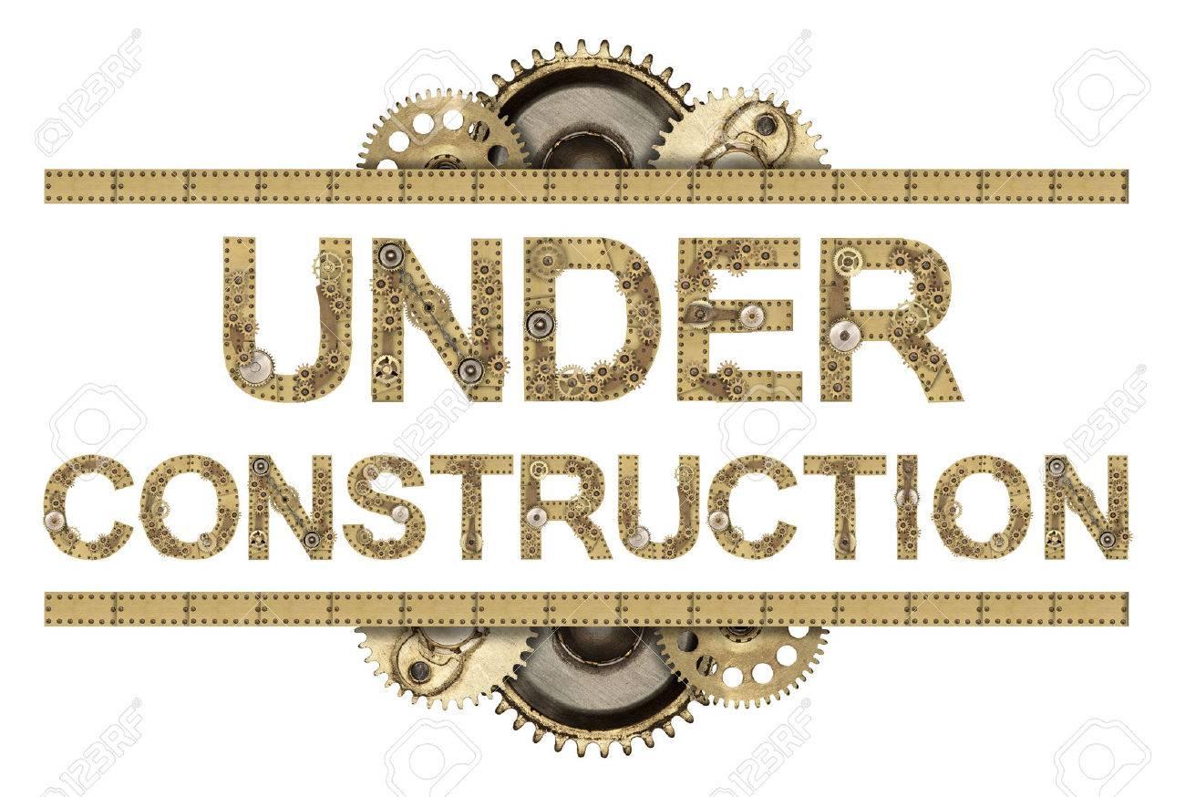 Under construction. Steampunk mechanical metal alphabet - 43944460